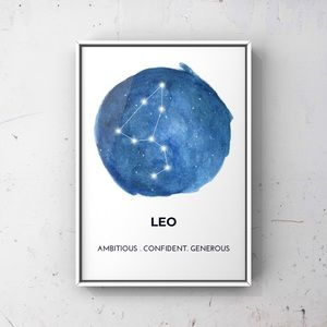 Leo zodiac sign constellation cosmic blue artprint